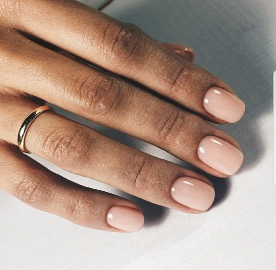 Simple delight #nude #nails #manicure #nailcolour #nailsideas #nailart #naildesign #queenb #shortnails #rednails #rednailpolish
