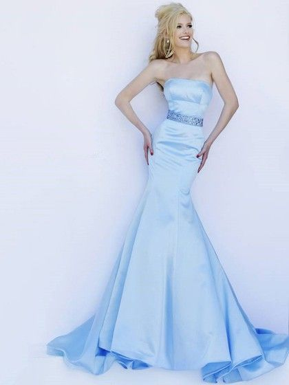 Affordable Satin with Sashes / Ribbons Trumpet/Mermaid Strapless Formal Dress