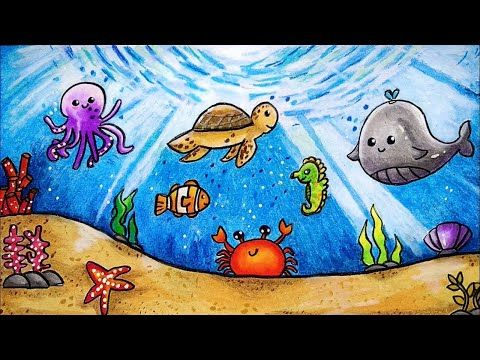 Cara Menggambar Dan Mewarnai Tema Pemandangan Bawah Laut Fauna Laut Yang Bagus Mudah Buat Pemula Youtube Cara Menggambar Warna Gambar