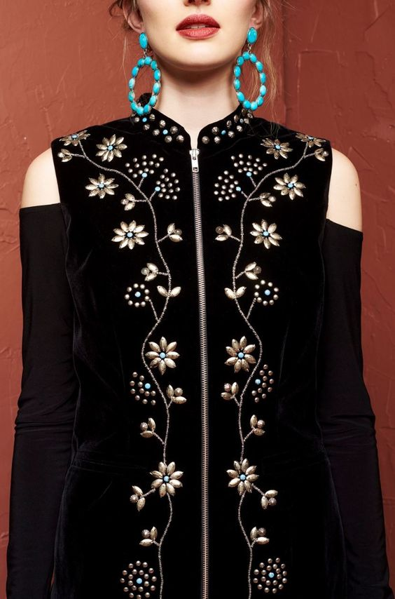 Roja Collection Cree Vest - velvet, beaded, studs, flowers http://www.cowgirlkim.com/roja-collection-fall-2016-cree-velvet-vest.html: