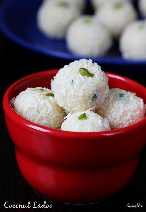 Coconut Ladoo With Condensed Milk Coconut Balls With Milkmaid Recipe Coconut Recipes Indian Desserts Indian Dessert Recipes