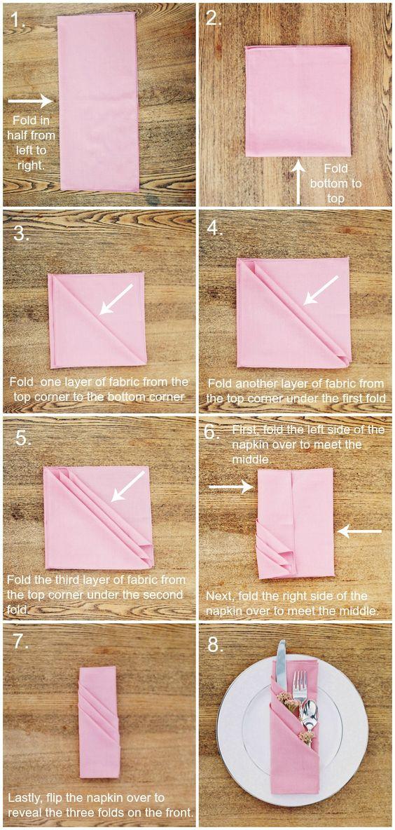 DIY: three pocket napkin fold