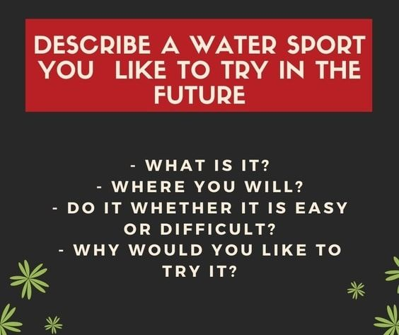 Describe A Water Sport That You Like To Try Water Sports Cue Cards Sports