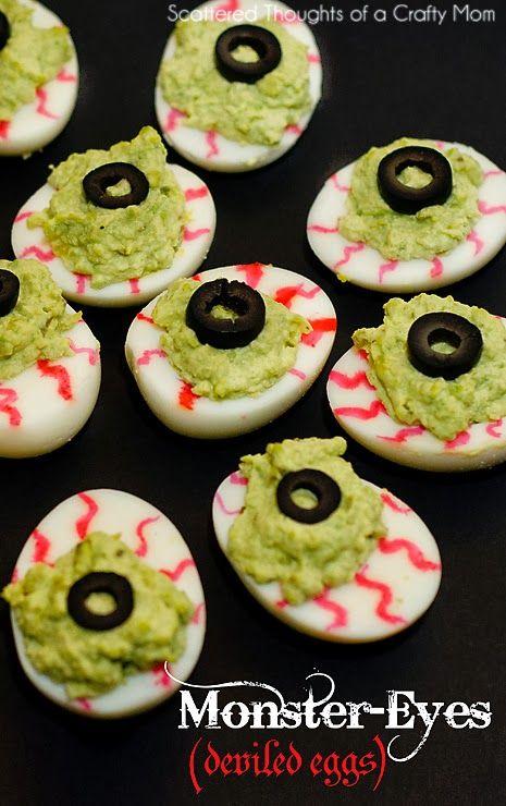 Halloween Inspired foods: Monster Eyes (deviled eggs)  #halloween #Deviledeggs #avocado