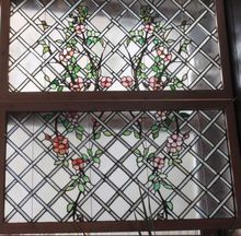 Pair of rose trellis stained glass windows, Shop Rubylane.com