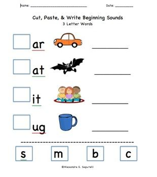 Worksheets 3 Letter Blends Worksheets includes 20 cut paste worksheets beginning sounds for 3 letter words 4 blends