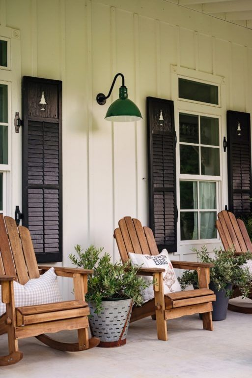Front Porch Inspiration Gooseneck Lights Interact With Black Shutters White Board And Batten Siding And Front Porch Decorating Porch Design House With Porch
