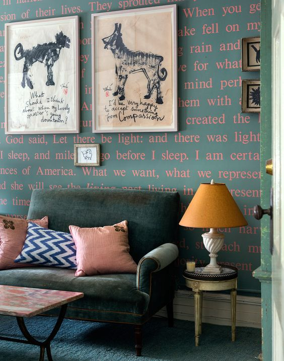 Word wallpaper in designer Sheila Bridges' Harlem apartment: