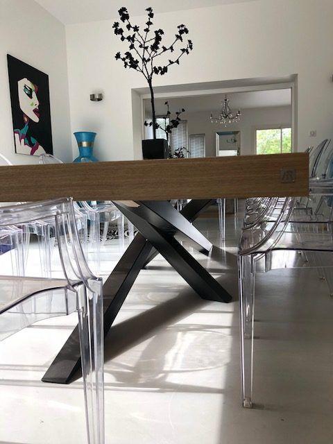 table mikado en metal et bois