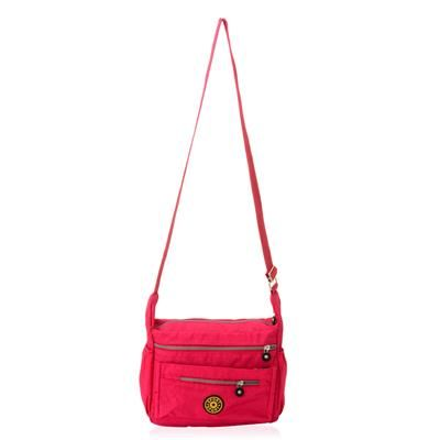 Pink Colour Waterproof Shoulder Bag with Three External Zipper Pocket and Adjustable Shoulder Strap (Size 12x4.6x9.2 inch)