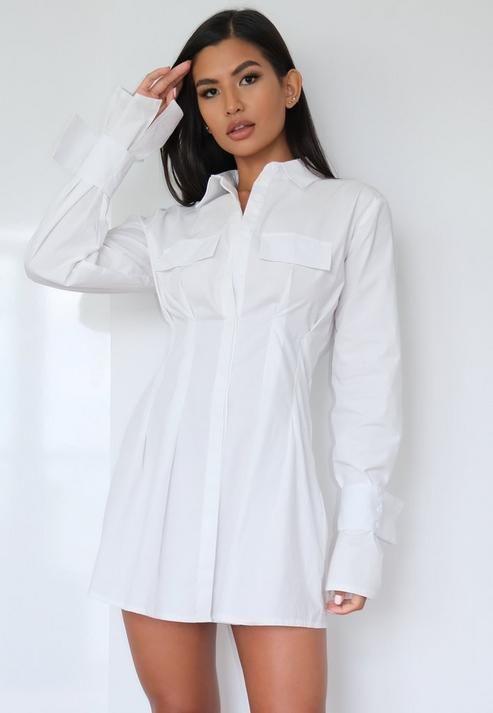 White Utility Pleated Waist Shirt Dress | Long sleeve shirt dress ...