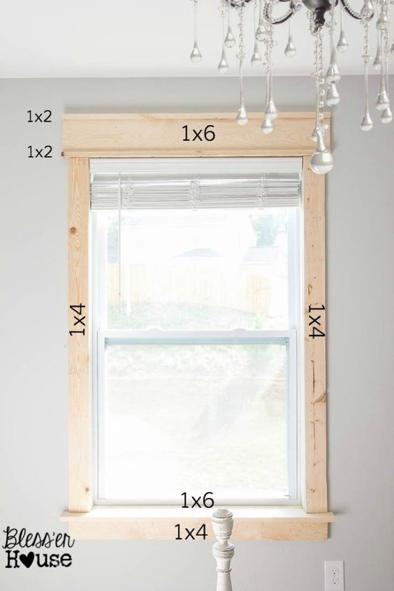 DIY Window Trim - The Easy Way | Bless'er House - I want to trim all the windows in our entire house like this!  For a more vintage look, go a little wider on the side casing and apron and make the 1x6 header slightly narrower.: