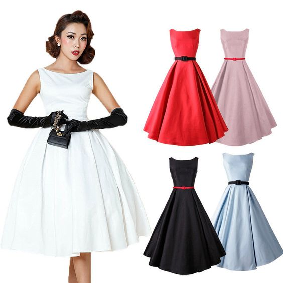 Aliexpress.com: (9,27€) Comprar Mujeres de la manera Rockabilly Oscilación Estilo Retro Una Línea de Partido Sin Mangas Del O cuello Del Vestido de La Vendimia Venta Caliente Del Vestido de Midi de vender su vestido de novia fiable proveedores en We Are The World Good To See You