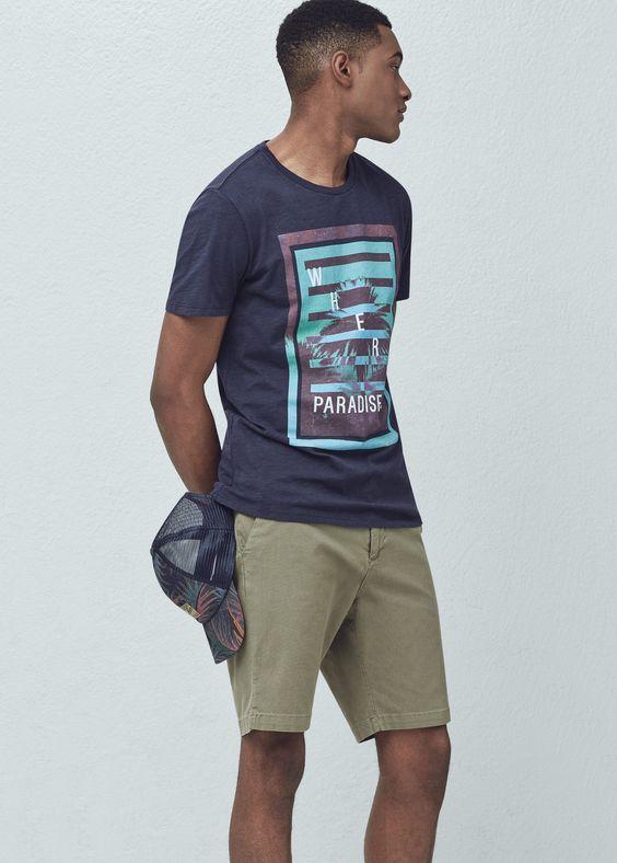 Palm image t-shirt - T-shirts for Men | MANGO Man USA