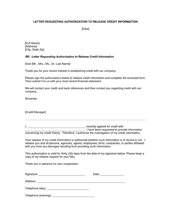 authorization letter release information best template collection - letter of authorization