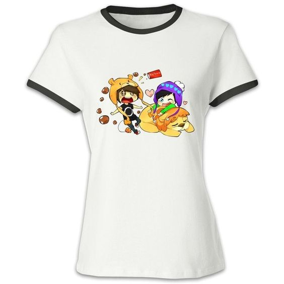 KAKuBA Dan And Phil Chibi Women Cool T Shirts Crazy Hit Color Tops... ❤ liked on Polyvore featuring tops and t-shirts