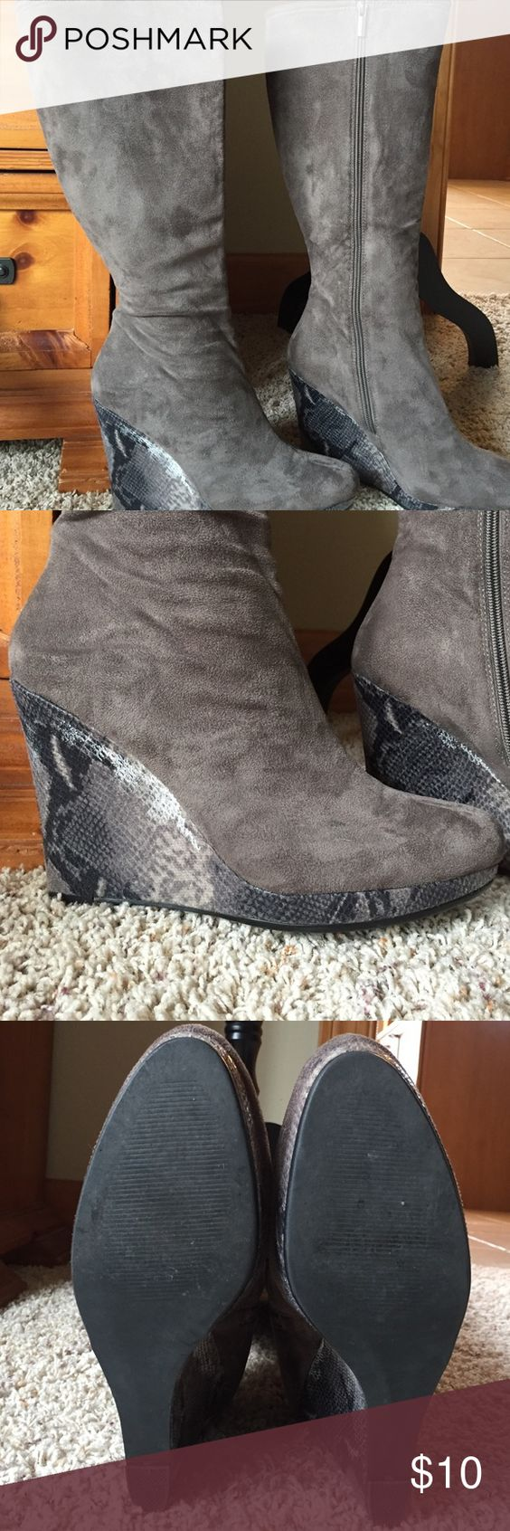 Grey plush fabric boots Faux snakeskin platform grey plush knee high boots Shoes Heeled Boots