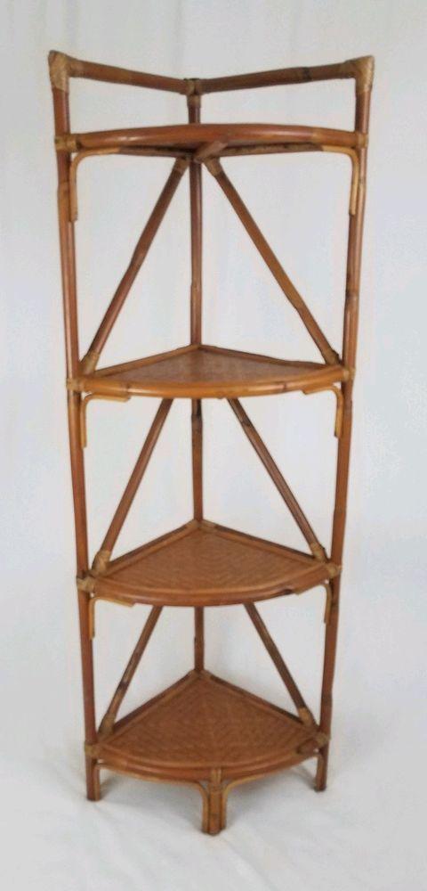 Vintage Rattan Bamboo Corner Shelf 4 Tier Display Stand Mid Century Tiki Boho Afflink Corner Shelves Display Shelves Tiki Decor