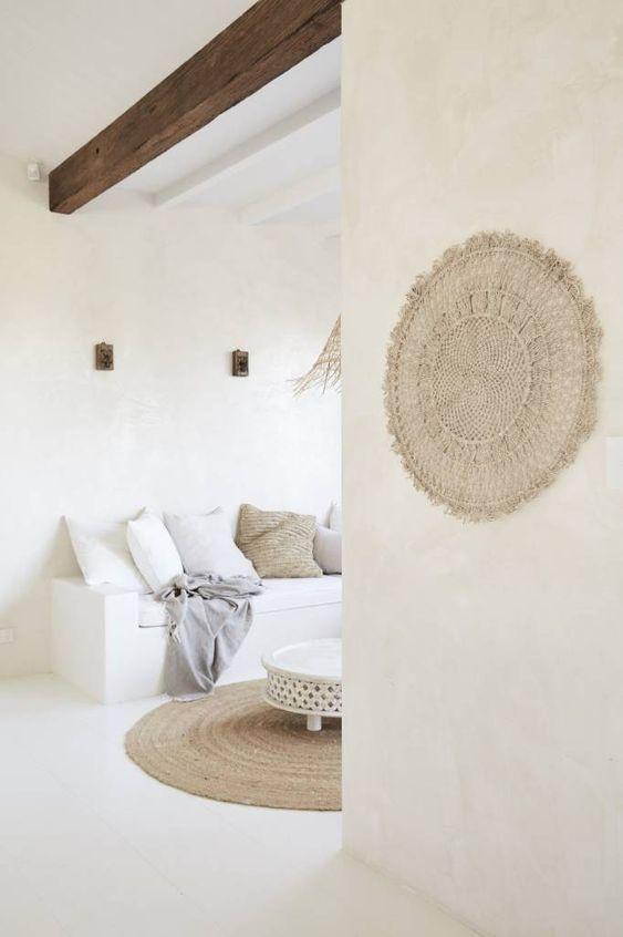 Mandala Wall Hanging jute - Natural - Ø100cm - The dharma door - Petite Lily Interiors