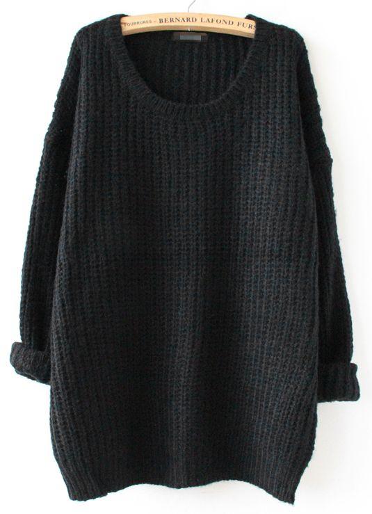 Shop Black Long Sleeve Loose Sweater online. Sheinside offers ...
