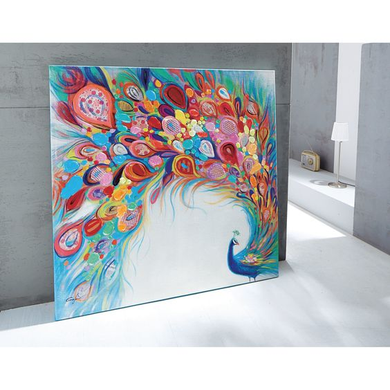 farbenfrohes xl bild pfau acryl auf leinwand bunt: amazon.de