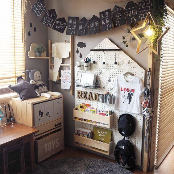 壁美人 有孔ボードでキッズルームに壁面収納 キッズルーム 部屋