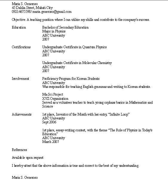 High School Resume No Work Experience How To Write A Resume With