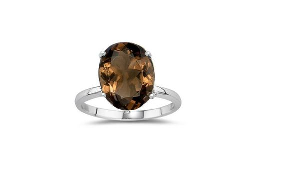 .925 Sterling Silver  Ring  W/ Oval  Smoky Quartz. Starting at $7