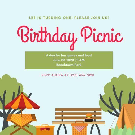 Picnic Invite Picnic Invitations Party Invitations Printable Picnic Birthday Party