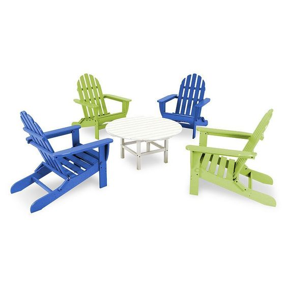 Polywood® 5-pc. Classic Neon Folding Adirondack Chair & Table Set - Outdoor, Blue Other