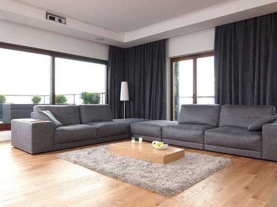 Wohnzimmer einrichten - Monochrome Designs mit Holz kombinieren - schone schlafzimmergardinen wohlfuhlfaktor