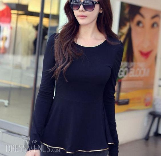 Elegant Japanese Style Golden Edge Long Sleeve Round Neckline Slim Material:CottonT-shirt