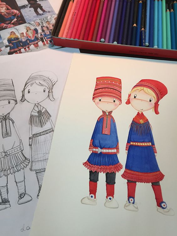 Niños del mundo. Pequeños lapones. Detalle. www.lauraduran.com Ilustración infantil