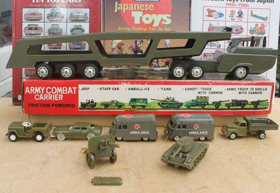 #Antique Tin Toy# SSS Combat Carrier Army Truck Japan Nomura Ichiko Bandai ALPS #Bandai