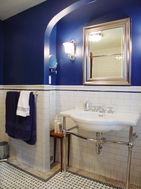 subway tile and cobalt blue
