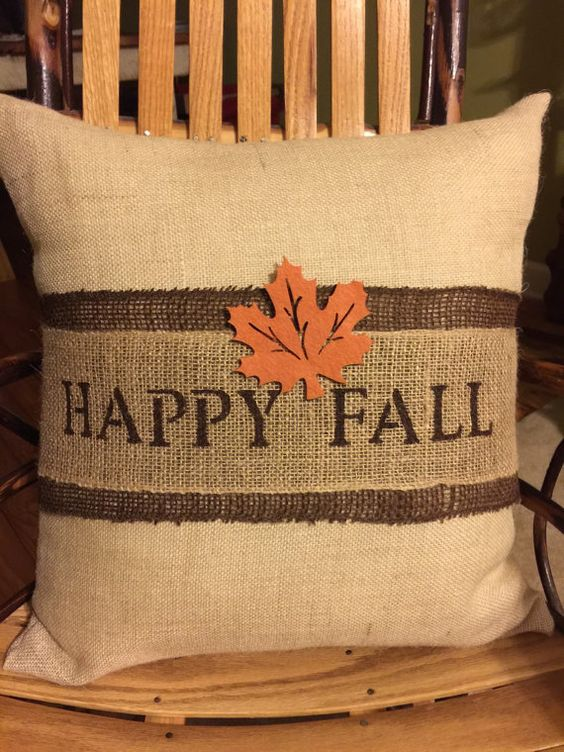 Decorative Pillows For Fall : Happy Fall Burlap Decorative Pillow by ASouthernCharmDecor on Etsy fall Pinterest ...