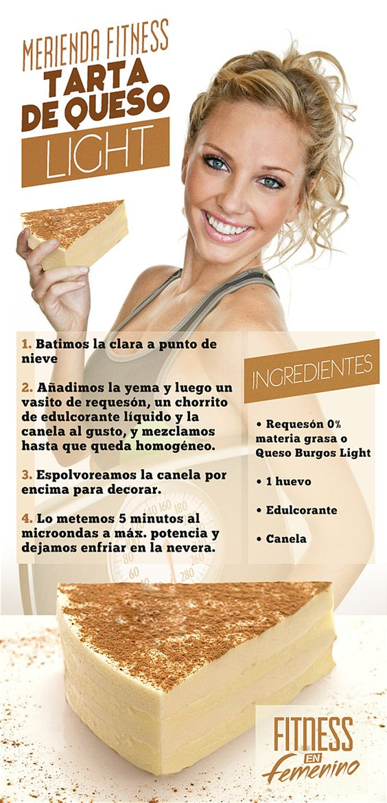Receta Tarta de Queso Light - Merienda Fitness en Femenino