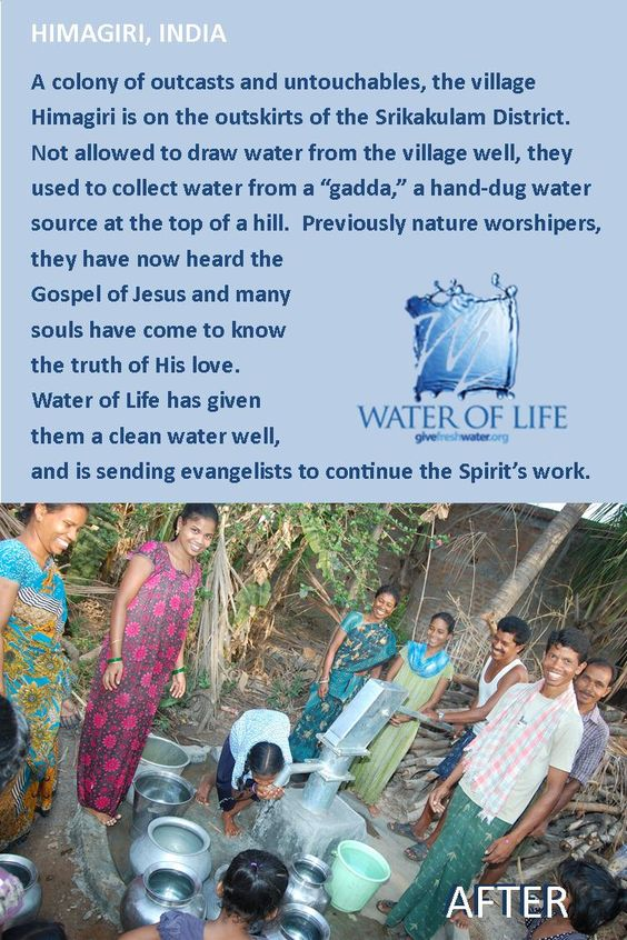 A Water of Life well is providing fresh water and spreading the Gospel in Himagiri, India.  To learn more about Water of Life's work & ministry... www.givefreshwater.org