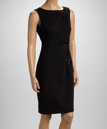 Black Buckle Sleeveless Dress - Women by Rabbit Rabbit Rabbit Designs #zulily #zulilyfinds