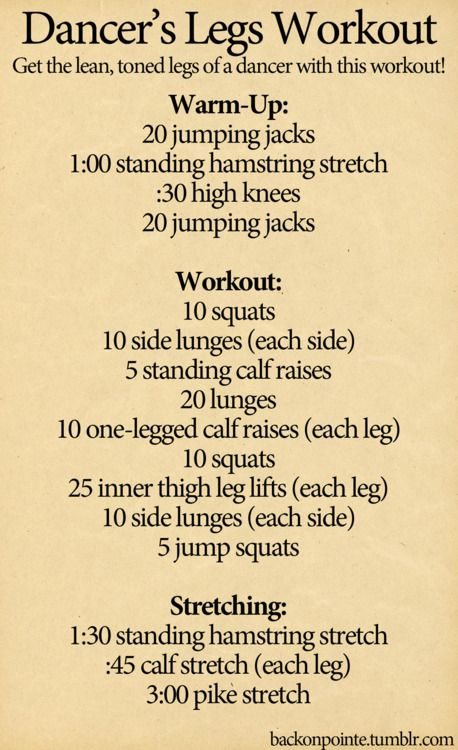 here's a workout to help you get the toned legs of a dancer. Pair this with a lot of stretching and you should notice a difference, especially in your calves, pretty quickly. For extra intensity, add dumbbells to the squats and lunges.  Also, if you have a hard time balancing in the one-legged calf raises, stand near a wall or counter so you have something to rest your hand on for balance. That's why we have barres in ballet classes!