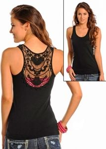 Black or White Tank with Lace Inset