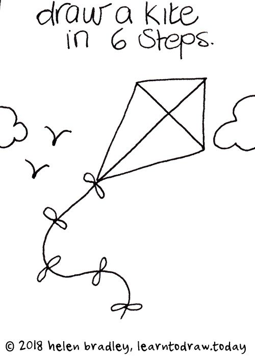 How To Draw A Flying Kite In Six Steps With Images Kite Kite