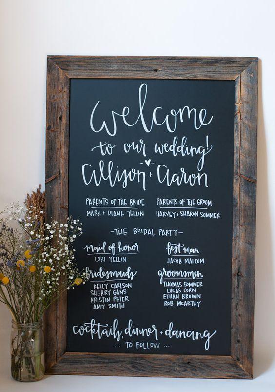Chalkboard Wedding Program // 23x35 // Rustic by ChalkFullofLove
