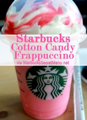 """starbucks """"cotton candy"""" frappuccino, Ive tried it and its pretty good. HOW TO ORDER: vanilla bean frappaccino pump rasberry syrup (tall 1pump, grande 1.5pump, vente 2pump) *** I order w/ soy and no whip cream, but that's just me ***"""