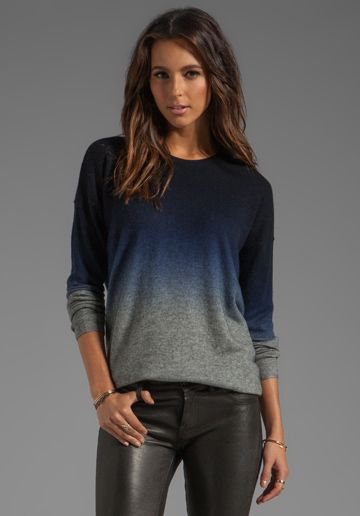 VINCE Oversized Wool-Cashmere Ombre Crew in Coastal -