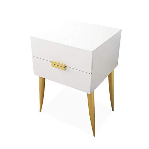 Bedside Cabinet Simple Side Cabinet With 2 Drawers Metal Leg Support Closed Storage Househo Wood Storage Cabinets Living Room Coffee Table Solid Wood Storage