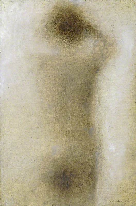charles maussion(1923- ), back of a nude, 1985. oil on canvas, 36.8 x 24.5 cm. sainsbury centre for visual arts, university of east anglia, uk http://www.bbc.co.uk/arts/yourpaintings/paintings/back-of-a-nude-1884