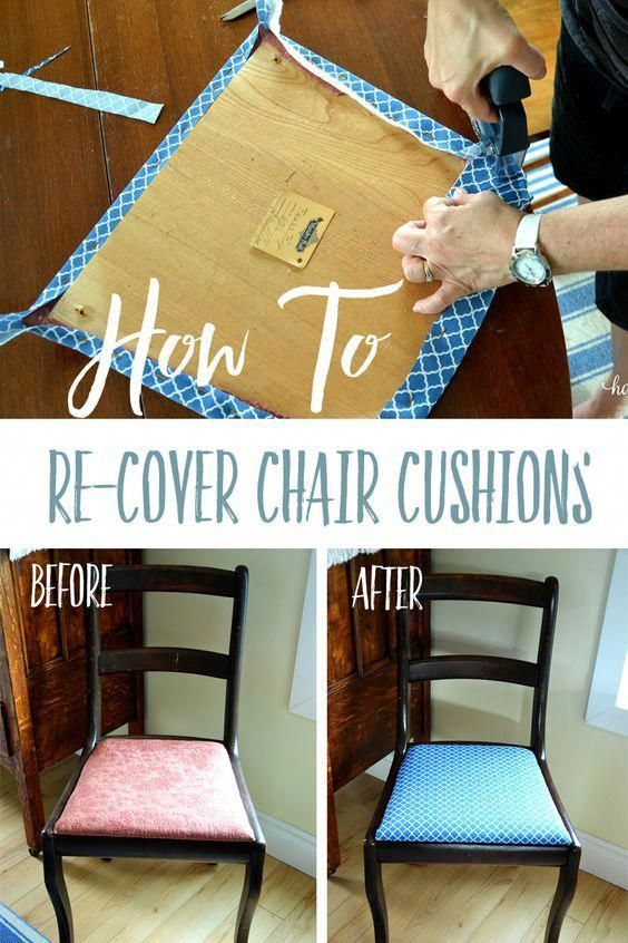 How To Easily Recover A Chair Cushion Follow These Quick And Easy Steps To Totally Transform Dining Room Chairs Diy Dining Chair Seat Covers Chair Cushions