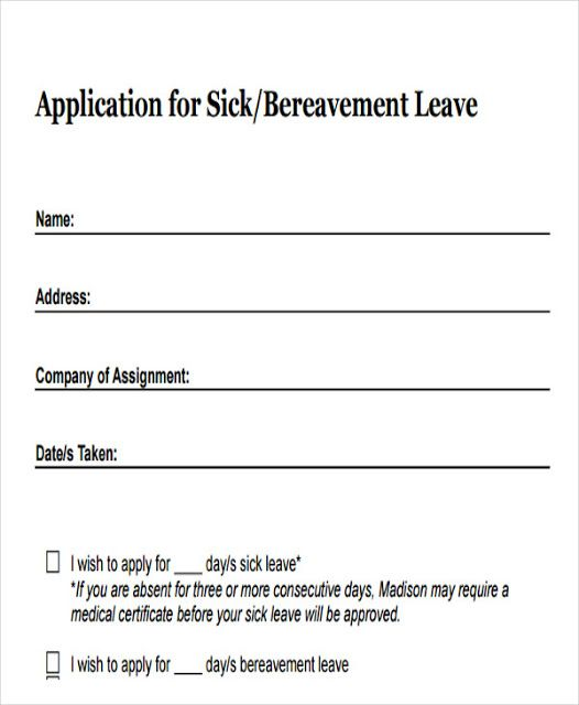 Yesterday Sick Leave Application For Office