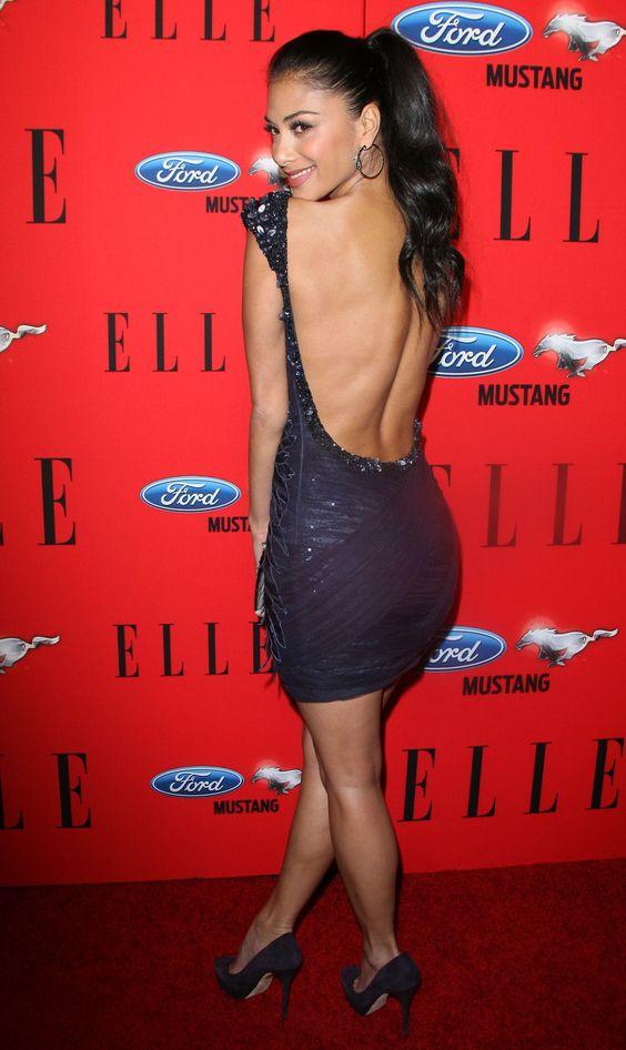 Nicole Scherzinger tight blue backless dress